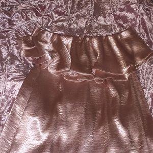 Silky pink off-shoulders
